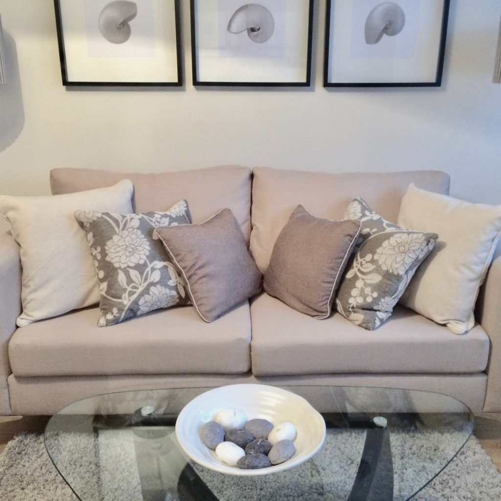 Archway flat sofa and cushions