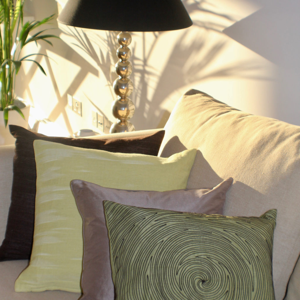 Muswell Hill sofa cushions and lamp