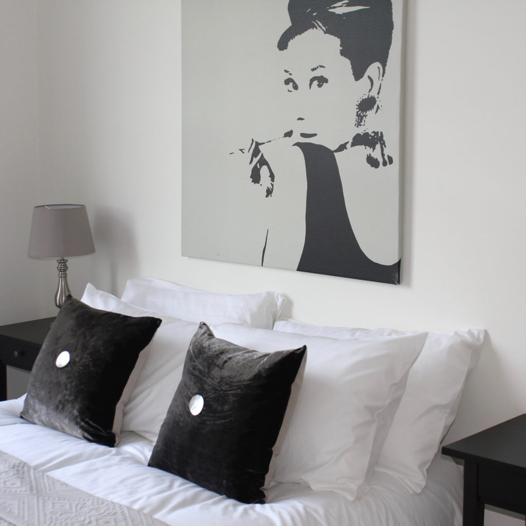 Drayton Park bed and Audrey print