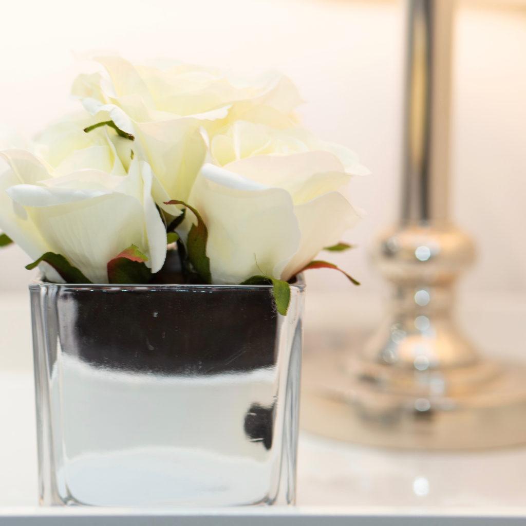 Silver bedside flower