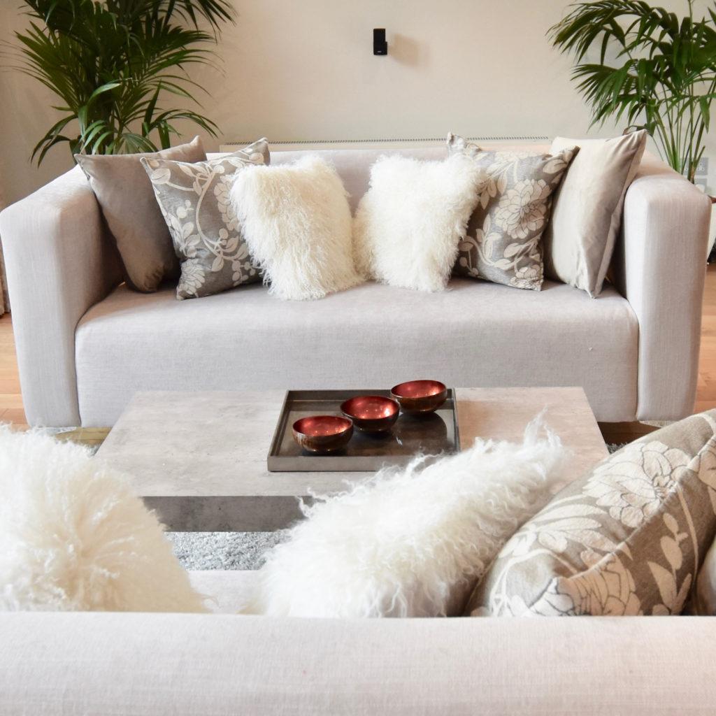 Highgate house mink sofa and cushions