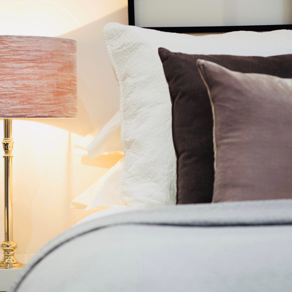 Left side bed cushions and lamp