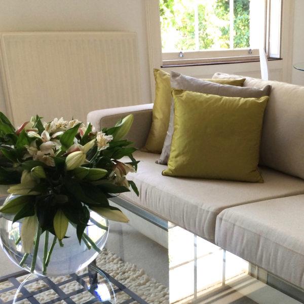 Islington flat sofa corner, cushions and vase