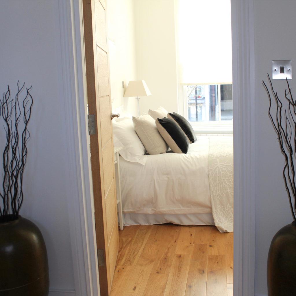 Drayton Park bed through doorway