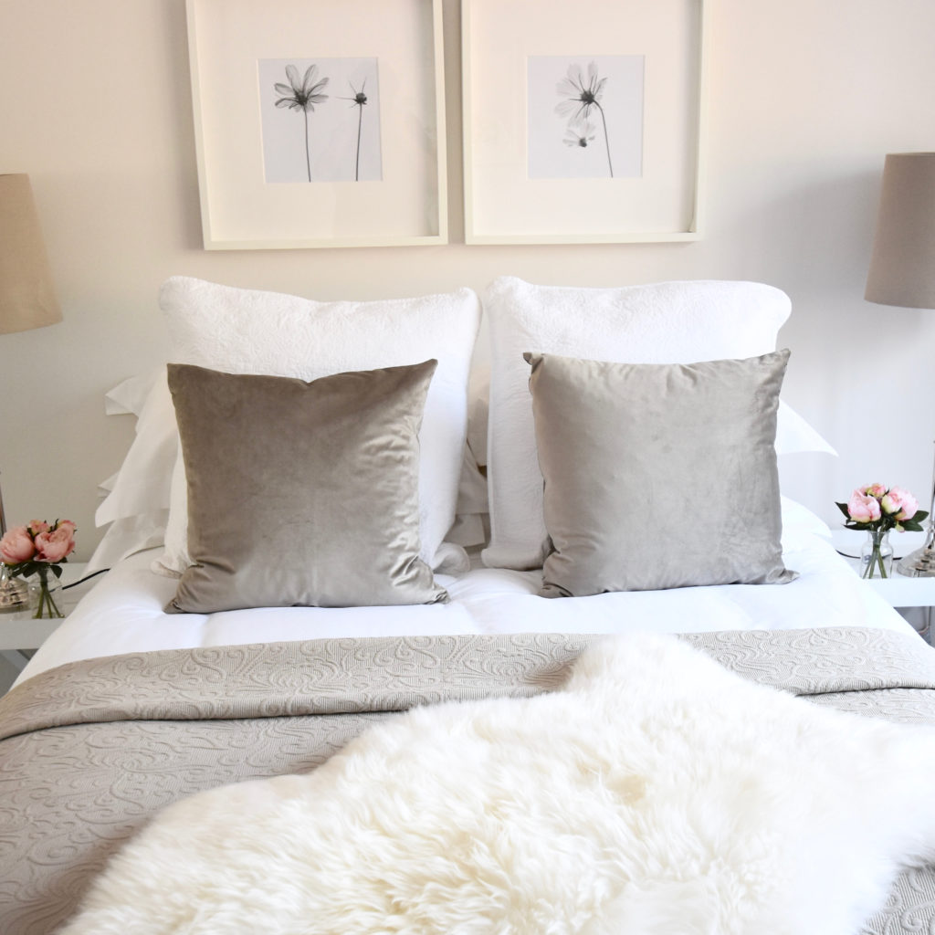 Taupe velvet cushions and cosmos prints