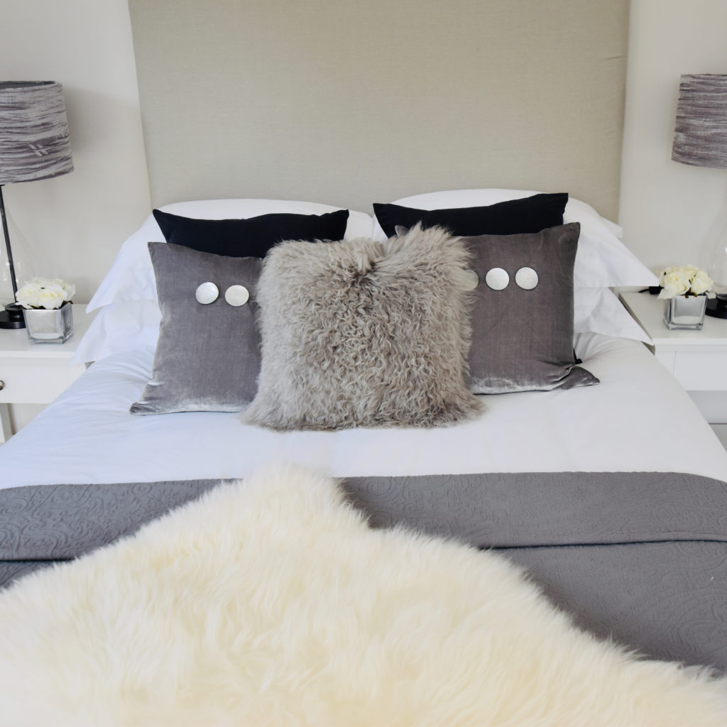 Surrey house grey velvet cushions and lamps