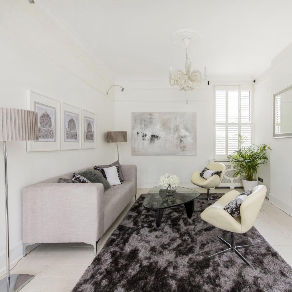 Sofa and grey rug