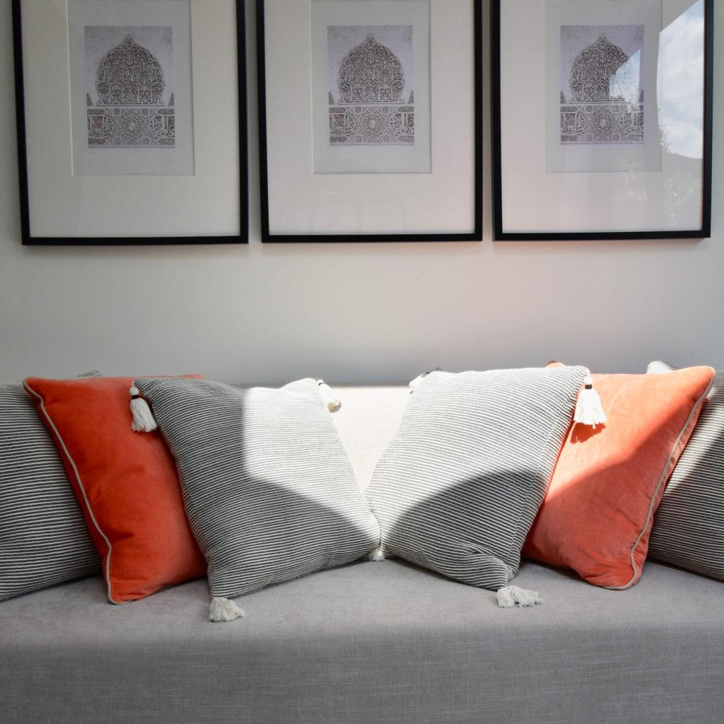 Sofa stripy cushions